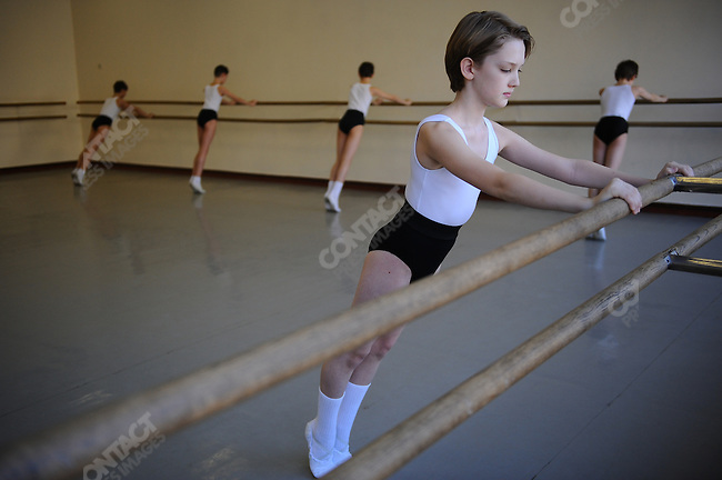 Julian MacKay, an American student at the Moscow State Academy of Choreography, the main school feeding dancers to the Bolshoi Ballet and one of the top ballet schools in the world, in morning class. Moscow, Russia, March 10, 2010