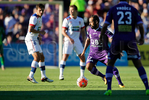 07.03.2016, Perth, Australia. Hyundai A-League, Perth Glory versus Newcastle Jets. Diego Castro weaves through the defence during the first half.