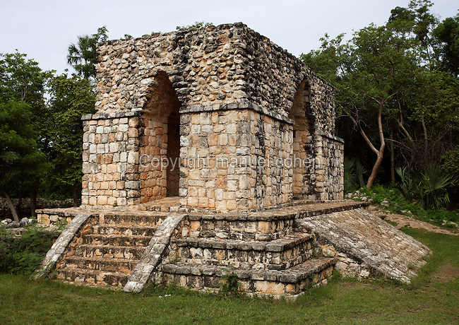Entrance gateway to ceremonial centre with 4 arches, Puuc Architecture, Ek Balam (?Black Jaguar? in Maya), flourished during the Late Classic period between 700 and 1200 AD, Yucatan, Mexico. Picture by Manuel Cohen