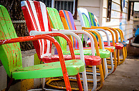 Colorfull chairs at the world famous Snow Cap Drive in, located in Seligman Arizona on Historic Route 66. Juan Delgadillo opened the drive in in 1953 after building it with scrap lumber.
