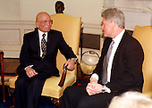 King Hussein of Jordan, left, meets United States President Bill Clinton, right, in the Oval Office at the White House in Washington, D.C. on January 5, 1999..Credit: Ron Sachs / CNP