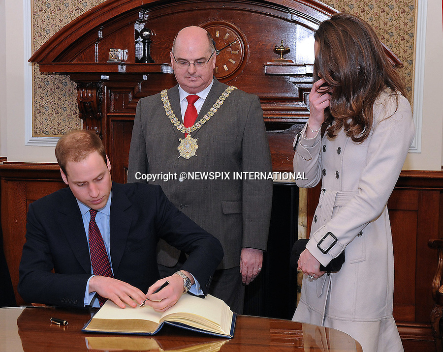 """PRINCE WILLIAM & KATE MIDDLETON_Visit Northern Ireland.Prince William and Miss Catherine Middleton visit City Hall Belfast_08/03/2011.Mandatory Photo Credit: ©Graham-Harrison/Newspix International..**ALL FEES PAYABLE TO: """"NEWSPIX INTERNATIONAL""""**..PHOTO CREDIT MANDATORY!!: ©NEWSPIX INTERNATIONAL (Failure to credit will incur a surcharge of 100% of reproduction fees)..IMMEDIATE CONFIRMATION OF USAGE REQUIRED:.Newspix International, 31 Chinnery Hill, Bishop's Stortford, ENGLAND CM23 3PS.Tel:+441279 324672  ; Fax: +441279656877.Mobile:  0777568 1153.e-mail: info@newspixinternational.co.uk"""