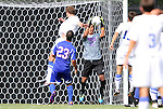 04 September 2011: SMU's Jaime Ibarra (13) grabs the ball. The Southern Methodist University Mustangs defeated the Duke University Blue Devils 1-0 in overtime at Koskinen Stadium in Durham, North Carolina in an NCAA Division I Men's Soccer game.