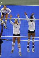 15 December 2007: Stanford Cardinal Alex Fisher (5) during Stanford's 25-30, 26-30, 30-23, 30-19, 8-15 loss against the Penn State Nittany Lions in the 2007 NCAA Division I Women's Volleyball Final Four championship match at ARCO Arena in Sacramento, CA.