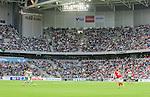 Stockholm 2015-07-13 Fotboll Allsvenskan Hammarby IF - Falkenbergs FF :  <br /> Vy &ouml;ver Tele2 Arena med publik p&aring; l&auml;ktarna under matchen mellan Hammarby IF och Falkenbergs FF <br /> (Foto: Kenta J&ouml;nsson) Nyckelord:  Fotboll Allsvenskan Tele2 Arena Hammarby HIF Bajen Falkenberg FFF supporter fans publik supporters inomhus interi&ouml;r interior