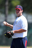 Minnesota Twins pitcher Hudson Boyd #55 participates in pitching fundamental drills on a side field during an Instructional League game against the New York Mets at Lee County Sports Complex on October 4, 2011 in Fort Myers, Florida.  (Mike Janes/Four Seam Images)