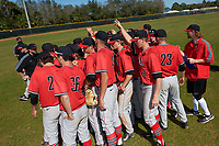 Illinois State Redbirds team huddle after a game against the Northwestern Wildcats on March 6, 2016 at North Charlotte Regional Park in Port Charlotte, Florida.  Illinois State defeated Northwestern 10-4.  (Mike Janes/Four Seam Images)