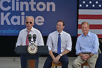 PALM BEACH GARDENS, FL - NOVEMBER 02: Vice President Joe Biden (L) speaking onstage with U.S. Representative (D-FL-18) Patrick Murphy (C) and U.S. Sen. Bill Nelson (D-FL) (R) during a public campaign rally for 'Get Out The Early Vote' for Democratic presidential nominee Hillary Clinton at Palm Beach State College-Amphitheater (Center of Campus) on November 2, 2016 in Palm Beach Gardens, Florida. Vice President Biden will urge Floridians to take advantage of early voting right away with six day left for election. Credit: MPI10 / MediaPunch