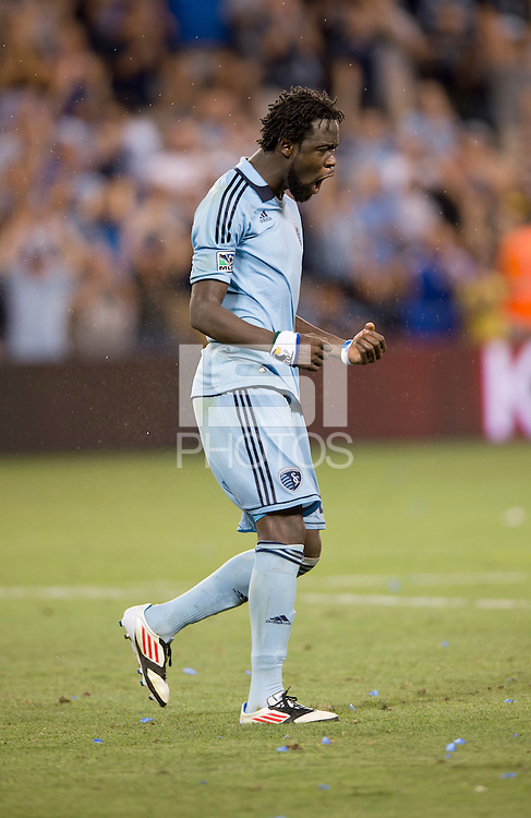 Kei Kamara. Sporting Kansas City won the Lamar Hunt U.S. Open Cup on penalty kicks after tying the Seattle Sounders in overtime at Livestrong Sporting Park in Kansas City, Kansas.