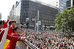 (L-R) Maharu Yoshimura, Ai Fukuhara, Koki Niwa (JPN), <br /> OCTOBER 7, 2016 :<br /> Japanese medalists of Rio 2016 Olympic and Paralympic Games wave to spectators during a parade from Ginza to Nihonbashi, Tokyo, Japan.<br /> (Photo by Yusuke Nakanishi/AFLO SPORT)