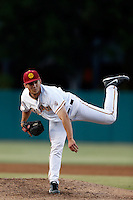 Sean Silva #31 of the USC Trojans pitches against the Arizona State Sun Devils at Dedeaux Field on April 12, 2013 in Los Angeles, California. USC defeated Arizona State, 5-0. (Larry Goren/Four Seam Images)