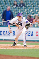 Texas Christian Horned Frogs first baseman Kevin Cron #00 stretches for a throw during the game against the Sam Houston State Bearkats at Minute Maid Park on February 28, 2014 in Houston, Texas.  The Bearkats defeated the Horned Frogs 9-4.  (Brian Westerholt/Four Seam Images)