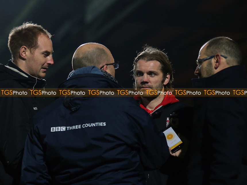 MK Dons Manager, Robbie Neilson, chats with the Media after the match during Yeovil Town vs MK Dons, Checkatrade Trophy Football at Huish Park on 6th December 2016