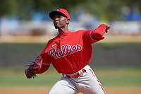 Philadelphia Phillies pitcher Jaylen Smith (12) during an exhibition game against the Canada Junior National Team on March 11, 2020 at Baseball City in St. Petersburg, Florida.  (Mike Janes/Four Seam Images)