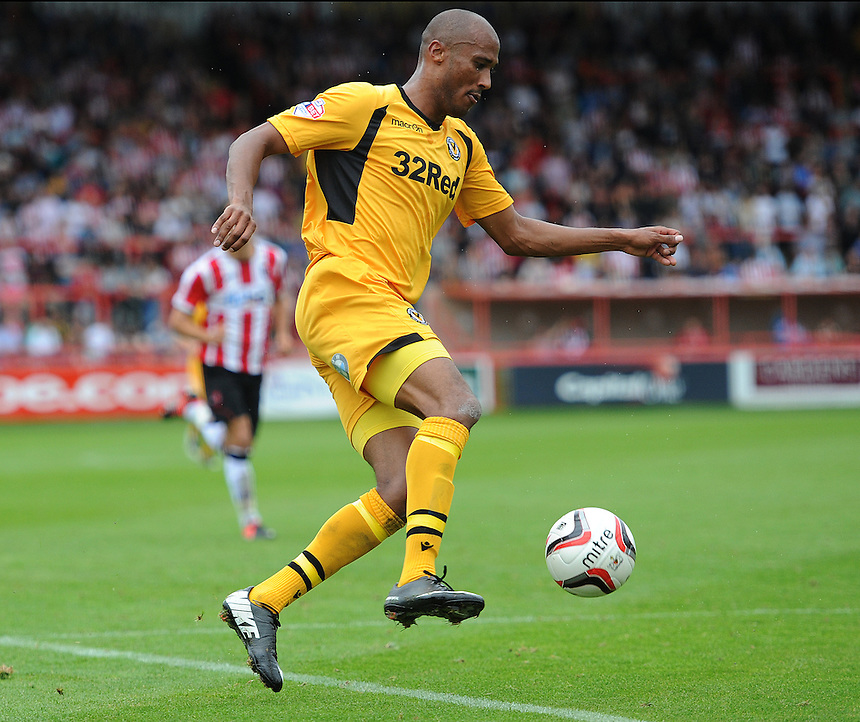 Newport County's Chris Zebroski in action during todays match  <br /> <br /> Photo by Ashley Crowden/CameraSport<br /> <br /> Football - The Football League Sky Bet League Two - Exeter City v Newport County - Saturday 21st September 2013 - St James Park - Exeter<br /> <br /> &copy; CameraSport - 43 Linden Ave. Countesthorpe. Leicester. England. LE8 5PG - Tel: +44 (0) 116 277 4147 - admin@camerasport.com - www.camerasport.com