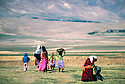 Iran 1979.In Ziweh, Kurdish refugees going to the fields