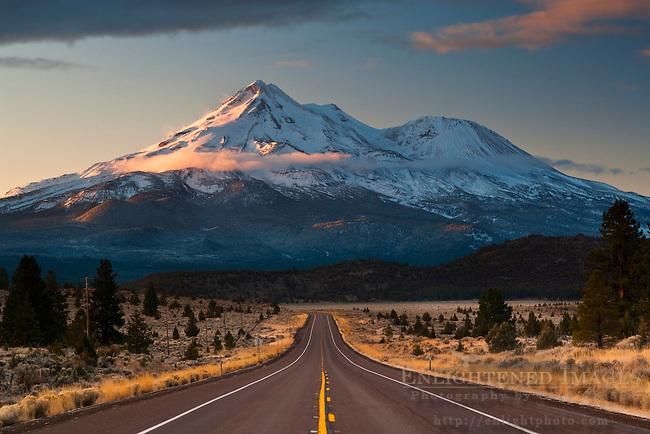 Mount Shasta and rural highway, Siskiyou County, California