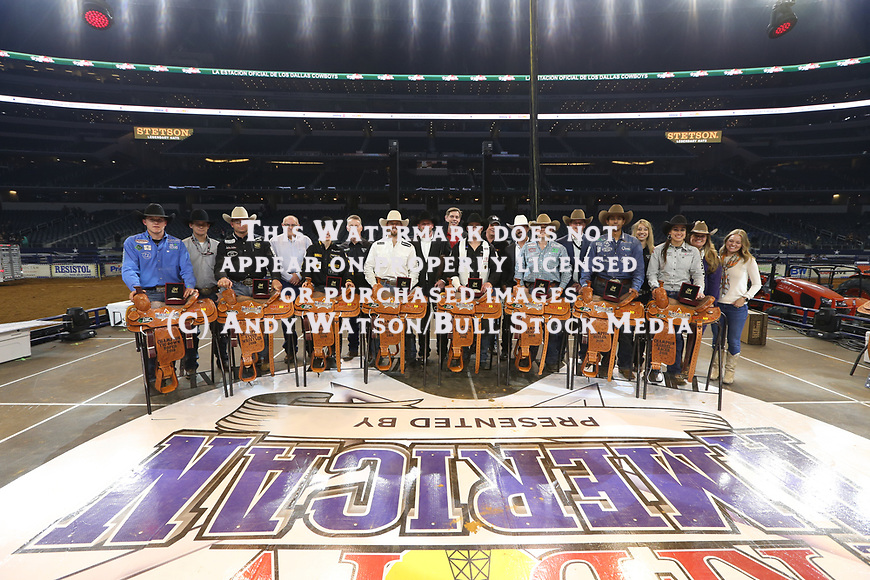 Marty Yates, Matt Reeves, Jess Lockwood, Cort Scheer, Kaycee Feild, Caleb Drigger, Junior Nogueira, Taci Bettis are the Wiiners during the RFDTV's The American Rodeo presented by Dish. Photo by Andy Watson. Photo credit must be given on all use; Photo by; Andy Watson/ Bull Stock Media