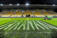 A groundsman cleans signage from the grass after the Rugby Championship match between the NZ All Blacks and Argentina Pumas at Yarrow Stadium in New Plymouth, New Zealand on Saturday, 9 September 2017. Photo: Dave Lintott / lintottphoto.co.nz
