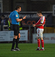 Fleetwood Town's Ashley Hunter explains to Referee Robert Jones that he had his shirt pulled<br /> <br /> Photographer Dave Howarth/CameraSport<br /> <br /> The EFL Sky Bet League One - Fleetwood Town v Sunderland - Tuesday 30th April 2019 - Highbury Stadium - Fleetwood<br /> <br /> World Copyright © 2019 CameraSport. All rights reserved. 43 Linden Ave. Countesthorpe. Leicester. England. LE8 5PG - Tel: +44 (0) 116 277 4147 - admin@camerasport.com - www.camerasport.com
