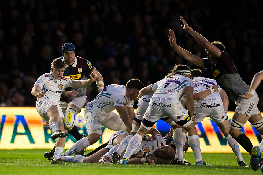 Exeter Chiefs' Jack Maunder in action during todays match<br /> <br /> Photographer Bob Bradford/CameraSport<br /> <br /> Aviva Premiership Round 20 - Harlequins v Exeter Chiefs - Friday 14th April 2016 - The Stoop - London<br /> <br /> World Copyright &copy; 2017 CameraSport. All rights reserved. 43 Linden Ave. Countesthorpe. Leicester. England. LE8 5PG - Tel: +44 (0) 116 277 4147 - admin@camerasport.com - www.camerasport.com