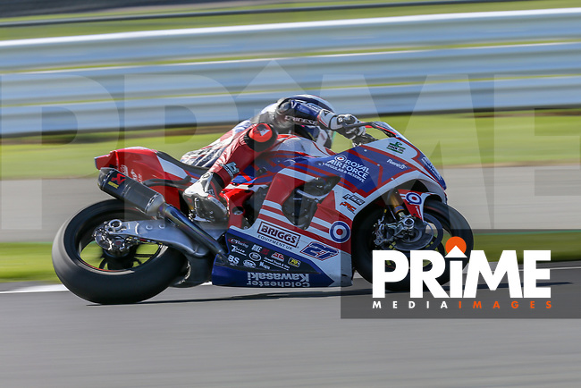 Jake DIXON (27) of the BSB RAF Regular and Reserve Kawasaki race team during Free Practice 1 at Round 9 of the 2018 British Superbike Championship at Silverstone Circuit, Towcester, England on Friday 7 September 2018. Photo by David Horn.