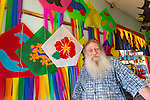 Jonathan Socher at the Big Wind Kite Factory in Maunaloa, Molokai, Hawaii, USA