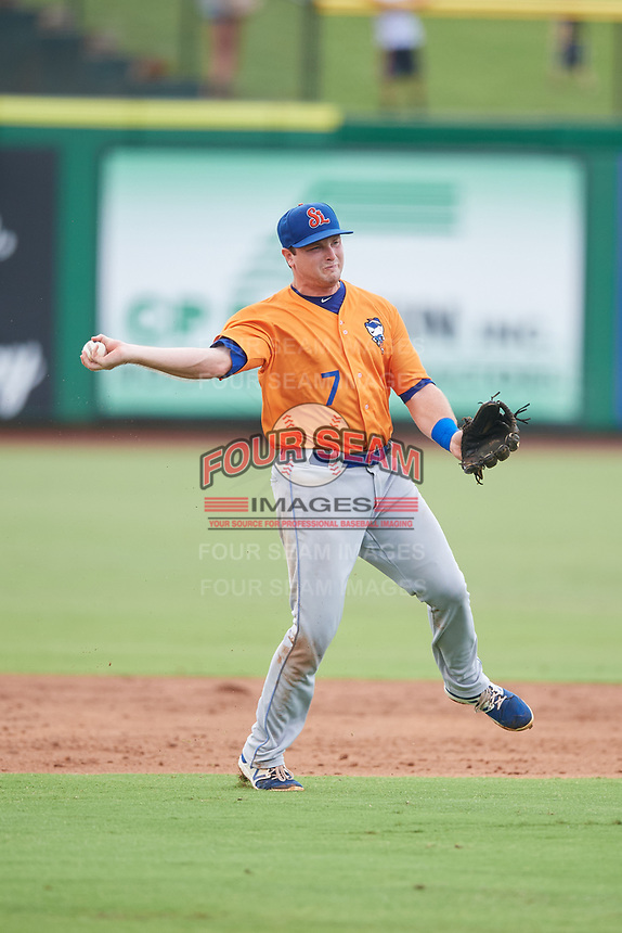 St. Lucie Mets shortstop Dale Burdick (7) throws to first base during a game against the Clearwater Threshers on August 11, 2018 at Spectrum Field in Clearwater, Florida.  St. Lucie defeated Clearwater 11-0.  (Mike Janes/Four Seam Images)