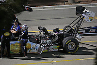 Apr. 5, 2013; Las Vegas, NV, USA: NHRA top fuel dragster driver Brandon Bernstein in the staging lanes during qualifying for the Summitracing.com Nationals at the Strip at Las Vegas Motor Speedway. Mandatory Credit: Mark J. Rebilas-