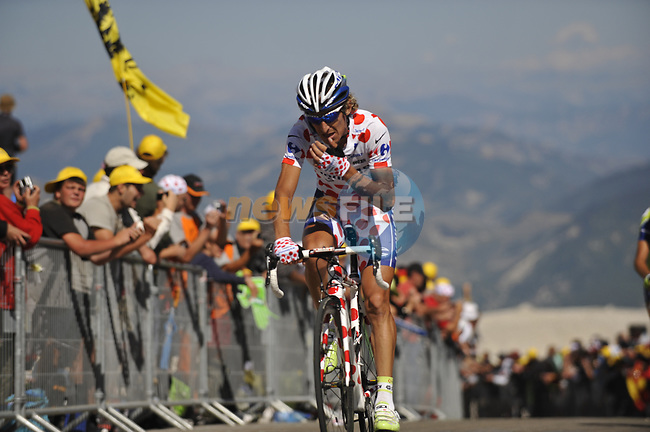 Polka Dot Jersey Franco Pellizotti (ITA) Liquigas close to the finish of Mont Ventoux during Stage19 of the Tour de France 2009 running 167km from Montelimar to Mont Ventoux, France. 25th July 2009 (Photo by Eoin Clarke/NEWSFILE)