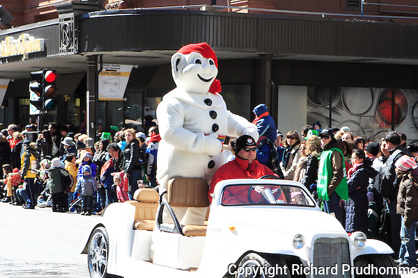 The Bonhomme Carnaval participate's in Montreal's St-Patrick's 185th parade, held in downtown Montreal on March 22nd 2009.