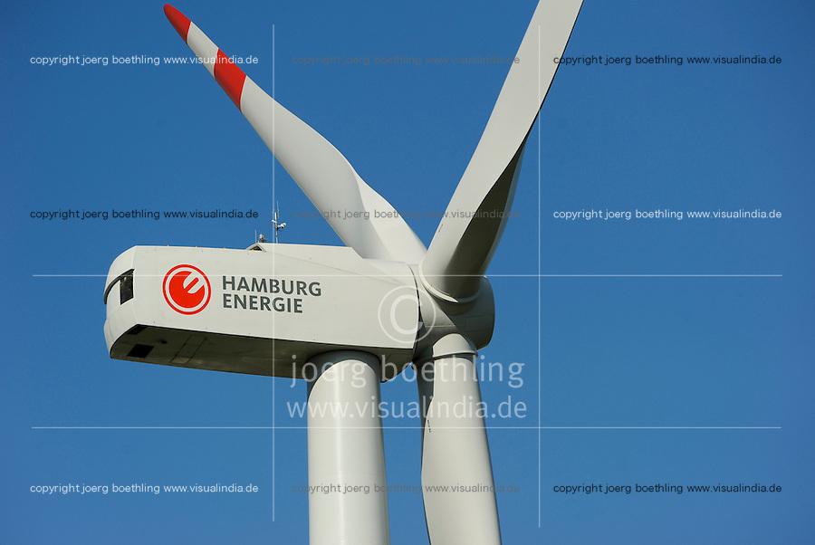 Hamburg, ehemaliger Muellberg Georgswerder wird im Rahmen eines IBA Projektes zu einem regenerativen Energieberg. Windenergie Sonnenenergie und Deponiegase versorgen ueber 2000 Haushalte der Elbinsel mit Strom. Der Energieberg soll als Aussichtspunkt ab 2013 oeffentlich zugaenglich gemacht werden , REpower 3.4 MW Windturbine von Hamburg Energie auf dem Georgswerder Muellberg   <br /> GERMANY Hamburg wind energy on a former garbage dumping site , REpower 3.4 MW wind turbine