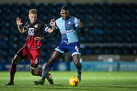 Aaron Pierre of Wycombe Wanderers holds off Andy Rose of Coventry City during the The Checkatrade Trophy Southern Group D match between Wycombe Wanderers and Coventry City at Adams Park, High Wycombe, England on 9 November 2016. Photo by Andy Rowland.