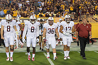 Tempe, AZ - October 18, 2014: The Stanford Cardinal vs Arizona State Sun Devils game at Sun Devil Stadium in Tempe, AZ. Final score, Stanford Cardinal 10, Arizona State 26