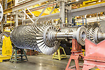 July 6, 2016. Greenville, South Carolina. <br />  The fan assembly of a GE gas turbine.<br />  At the General Electric Gas Turbine factory, engineers  design, produce, test and repair gas turbines for generating electricity. These turbines weigh more than 900,000 pounds and can create internal combustion temperatures up to 2,900 degrees F. Depending on the model, one of the GE turbines can produce enough electricity for half a million American households.