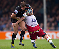 Exeter Chiefs' Ollie Devoto is tackled by Northampton Saints'  James Fish<br /> <br /> Photographer Bob Bradford/CameraSport<br /> <br /> Gallagher Premiership - Exeter Chiefs v Northampton Saints - Saturday 18th May 2019 - Sandy Park - Exeter<br /> <br /> World Copyright © 2019 CameraSport. All rights reserved. 43 Linden Ave. Countesthorpe. Leicester. England. LE8 5PG - Tel: +44 (0) 116 277 4147 - admin@camerasport.com - www.camerasport.com