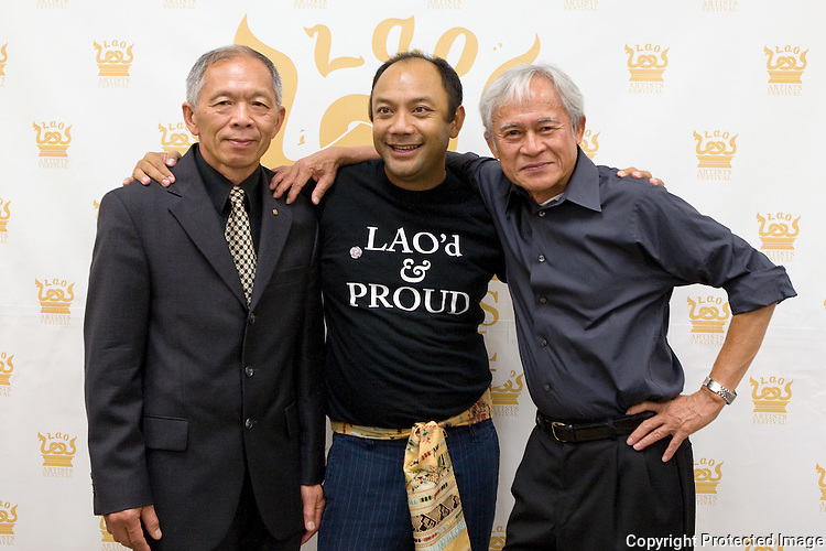 From left to right are Silavong Keo, Ova Saopeng, and Voradeth Ditthavong during the Lao Artists Festival in Elgin, IL, photographed on August 21, 2010.  (photo by Khampha Bouaphanh)