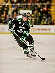 24 October 2015: University of North Dakota Defenseman Keaton Thompson, a Junior from Devils Lake, ND, in first period action against the University of Vermont Catamounts at Gutterson Fieldhouse in Burlington, Vermont. North Dakota defeated the Catamounts 5-2 in the second game of their weekend series. Mandatory Credit: Ed Wolfstein Photo *** RAW (NEF) Image File Available ***