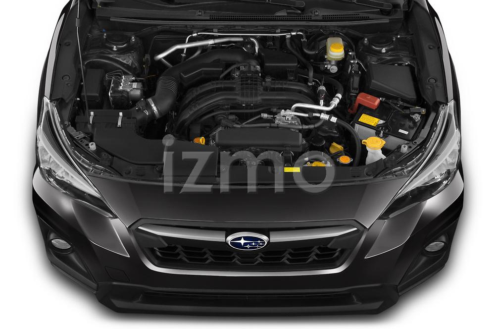 Car Stock 2020 Subaru Crosstrek Premium 5 Door SUV Engine  high angle detail view