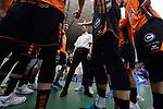 02.05.2018, ZF Arena, Friedrichshafen<br />Volleyball, Bundesliga MŠnner / Maenner, Play-offs, Finale 3. Spiel, VfB Friedrichshafen vs. Berlin Recycling Volleys<br /><br />Auszeit / Timeout Berlin - Stelian Moculescu (Trainer / Coach Berlin)<br /><br />  Foto &copy; nordphoto / Kurth