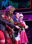 J. Harrison Ghee with Scissor Sisters frontman Jake Shears takes his curtain call bows during his Broadway Debut In 'Kinky Boots' at the Al Hirschfeld Theatre on January 8, 2018 in New York City.