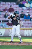 Salem-Keizer Volcanoes third baseman David Villar (5) at bat during a Northwest League game against the Eugene Emeralds at Volcanoes Stadium on August 31, 2018 in Keizer, Oregon. The Eugene Emeralds defeated the Salem-Keizer Volcanoes by a score of 7-3. (Zachary Lucy/Four Seam Images)