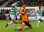 18th March 2018, Fir Park, Motherwell, Scotland; Scottish Premiership football, Motherwell versus Celtic;  Tom Aldred tackles Tom Rogic in the box