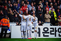 Sunday, 23 November 2012<br /> <br /> Pictured: Swansea City Celebrate after their first half equalizer with Manchester United <br /> <br /> Re: Barclays Premier League, Swansea City FC v Manchester United at the Liberty Stadium, south Wales.