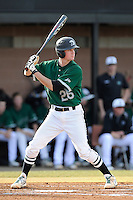 Shortstop Daniel Fickas (26) of the University of South Carolina Upstate Spartans bats in a game against the Citadel Bulldogs on Tuesday, February, 18, 2014, at Cleveland S. Harley Park in Spartanburg, South Carolina. Upstate won, 6-2. (Tom Priddy/Four Seam Images)