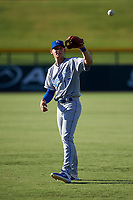 AZL Royals Bobby Witt, Jr. (17) warms up before an Arizona League game against the AZL Cubs 1 on June 30, 2019 at Sloan Park in Mesa, Arizona. AZL Royals defeated the AZL Cubs 1 9-5. (Zachary Lucy / Four Seam Images)