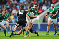 Conor O'Brien of Ireland U20 takes on the New Zealand defence. World Rugby U20 Championship match between New Zealand U20 and Ireland U20 on June 11, 2016 at the Manchester City Academy Stadium in Manchester, England. Photo by: Patrick Khachfe / Onside Images