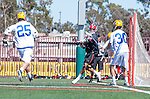 Santa Barbara, CA 04/16/16 - Peter Brydon (UCSB #30), David Abady (UCSB #25) and Wesley Greason (Chapman #1) in action during the final regular MCLA SLC season game between Chapman and UC Santa Barbara.  Chapman defeated UCSB 15-8. in action during the final regular MCLA SLC season game between Chapman and UC Santa Barbara.  Chapman defeated UCSB 15-8.