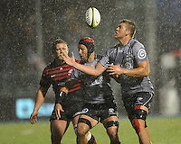 Stephan Lewies of Sharks juggles a loose ball during the Sanlam Private Investments Shield match between Saracens and the Cell C Sharks at Allianz Park on Saturday 25th January 2014 (Photo by Rob Munro)