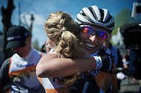 a teammate congratulates Anna van der Breggen (NLD/Rabobank-Liv) after winning the 2015 Flèche Wallonne Féminine